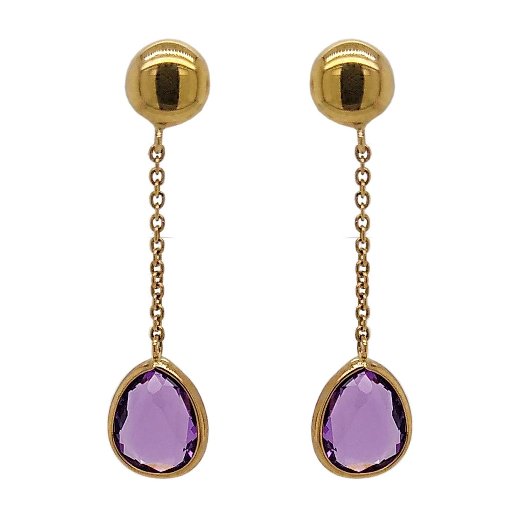 9ct Yellow Gold Teardrop Amethyst Drop Earrings