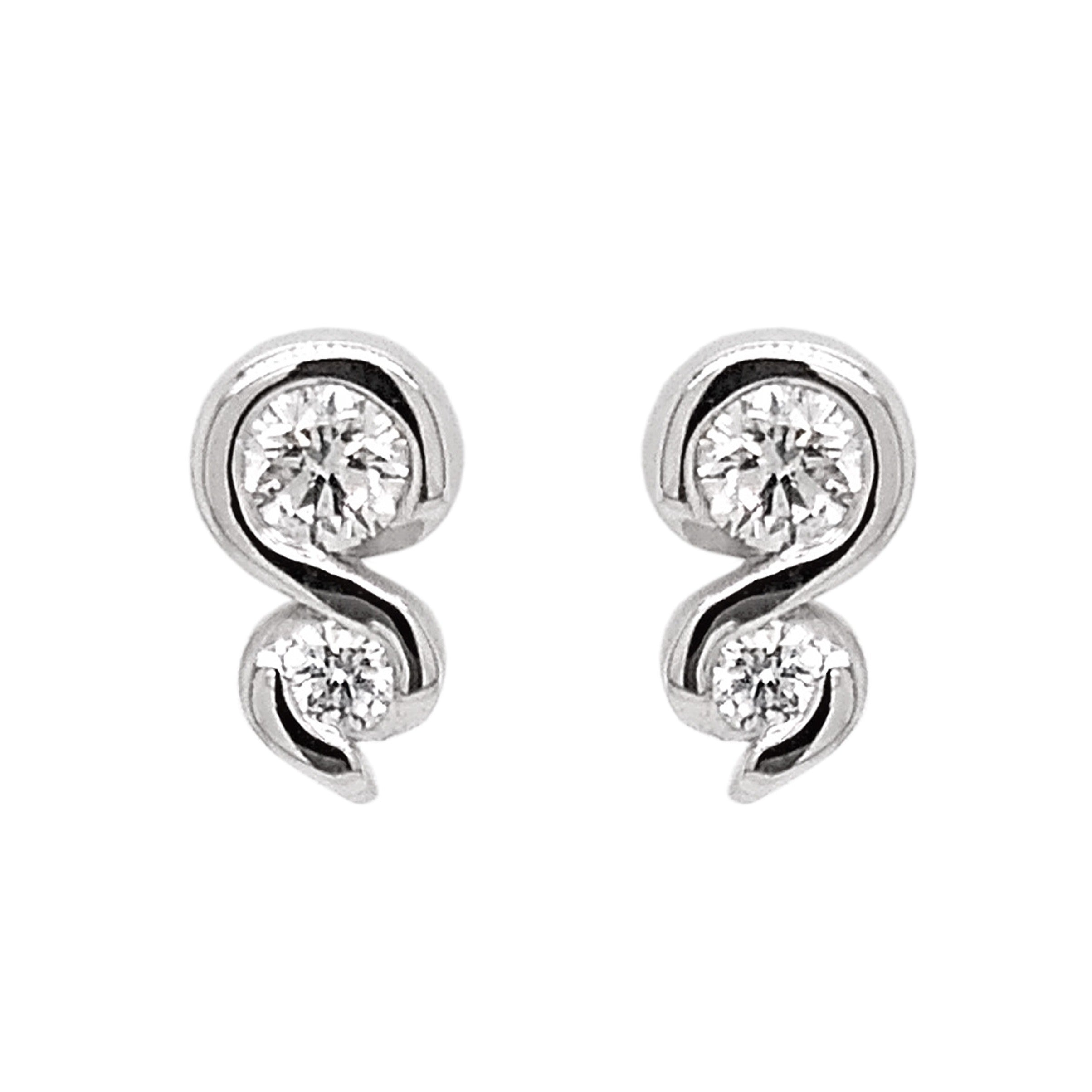 18ct White Gold Diamond Curl Stud Earrings