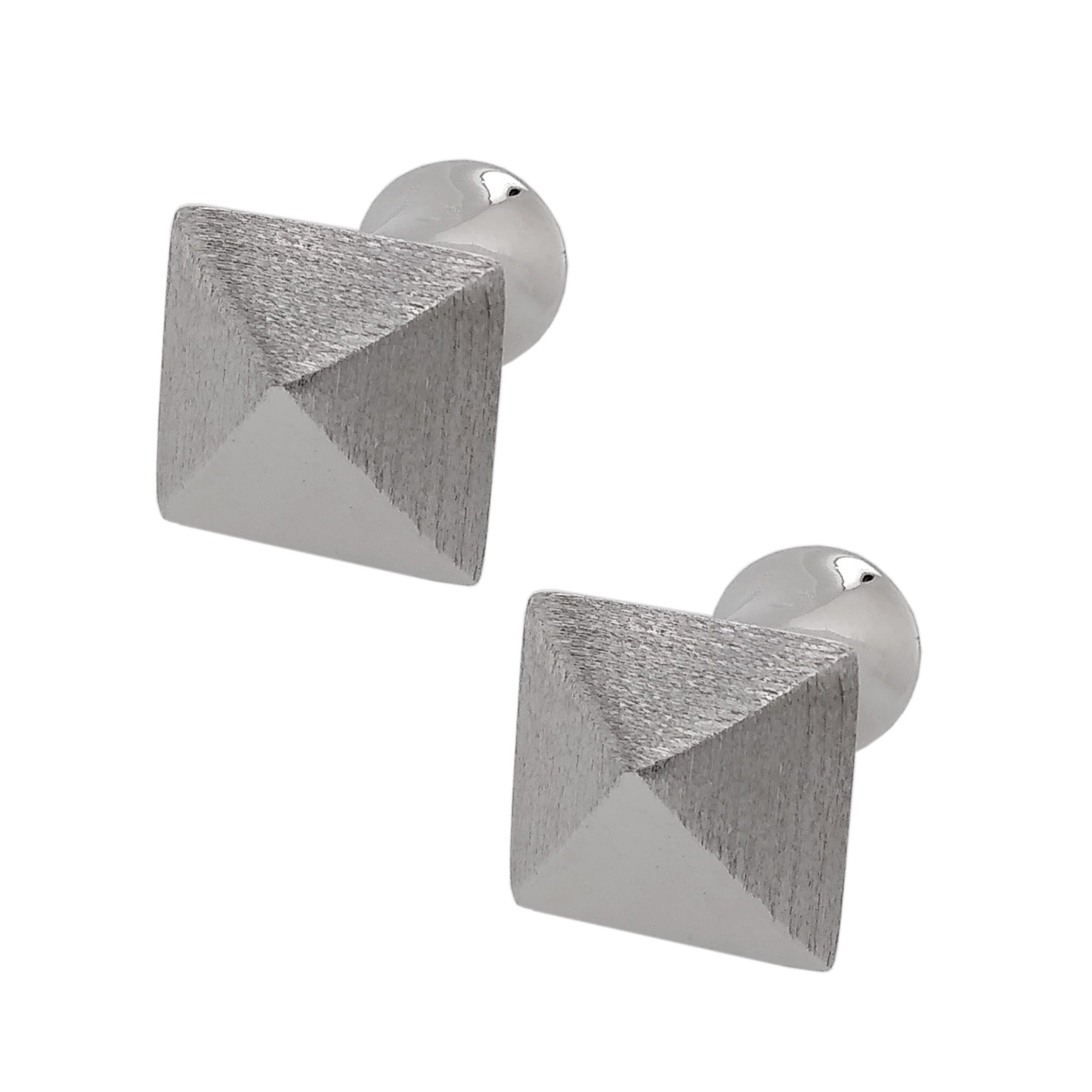 Silver Rhodium Plated Pointed Square Cufflinks