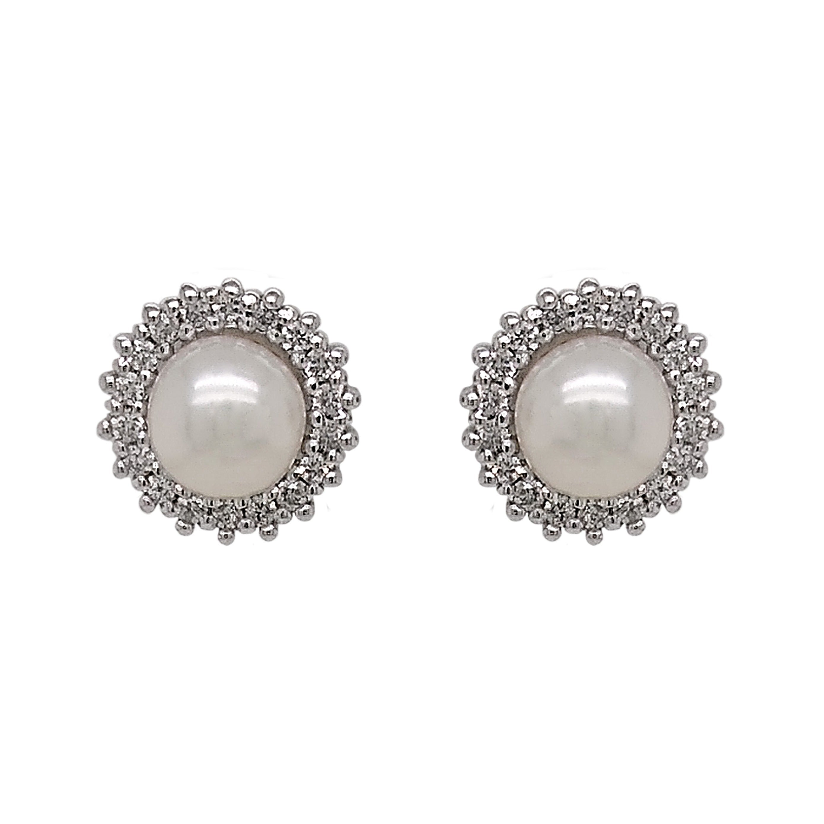9ct White Gold Freshwater Pearl & Diamond Earrings