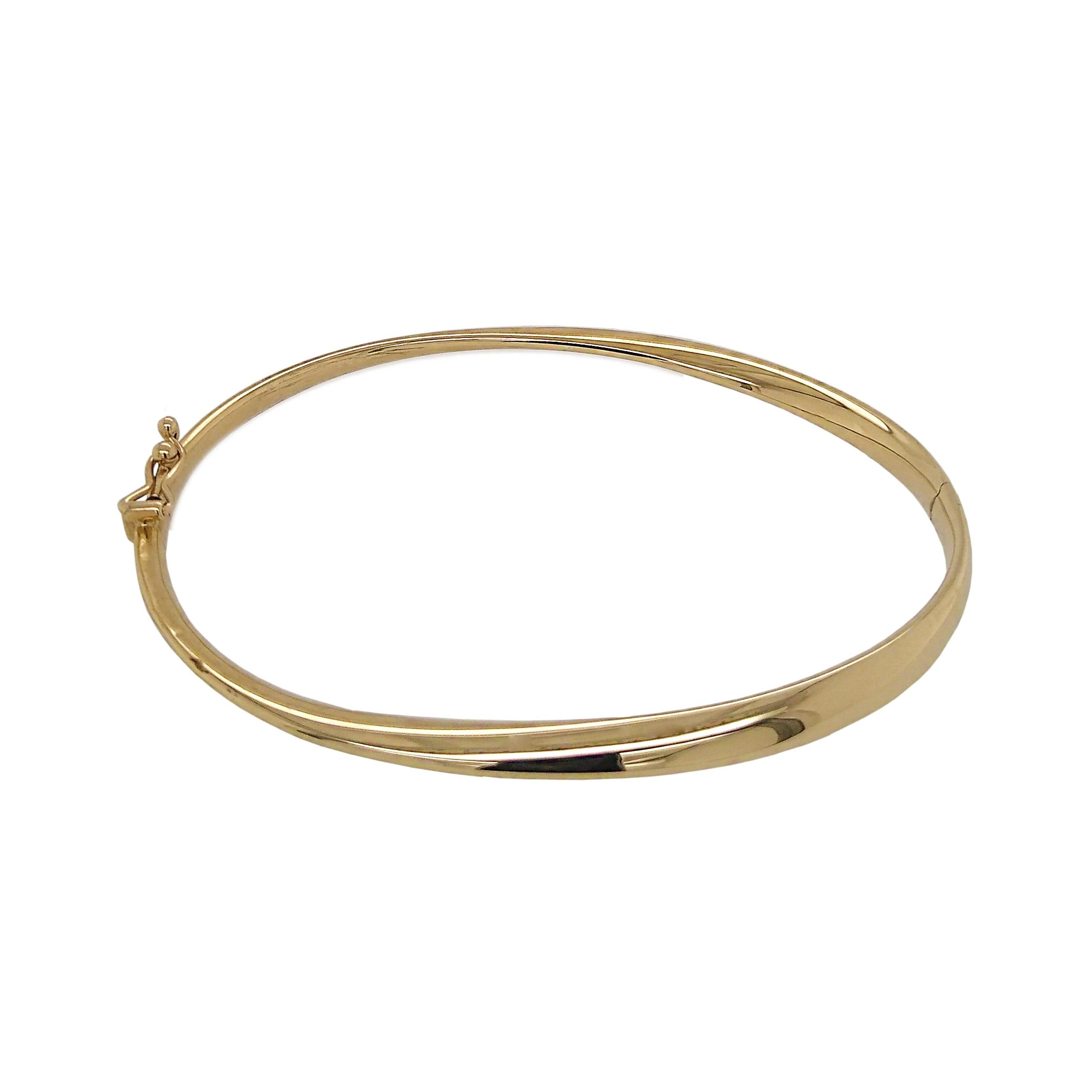 9ct Yellow Gold Oval Twist Hinged Bangle
