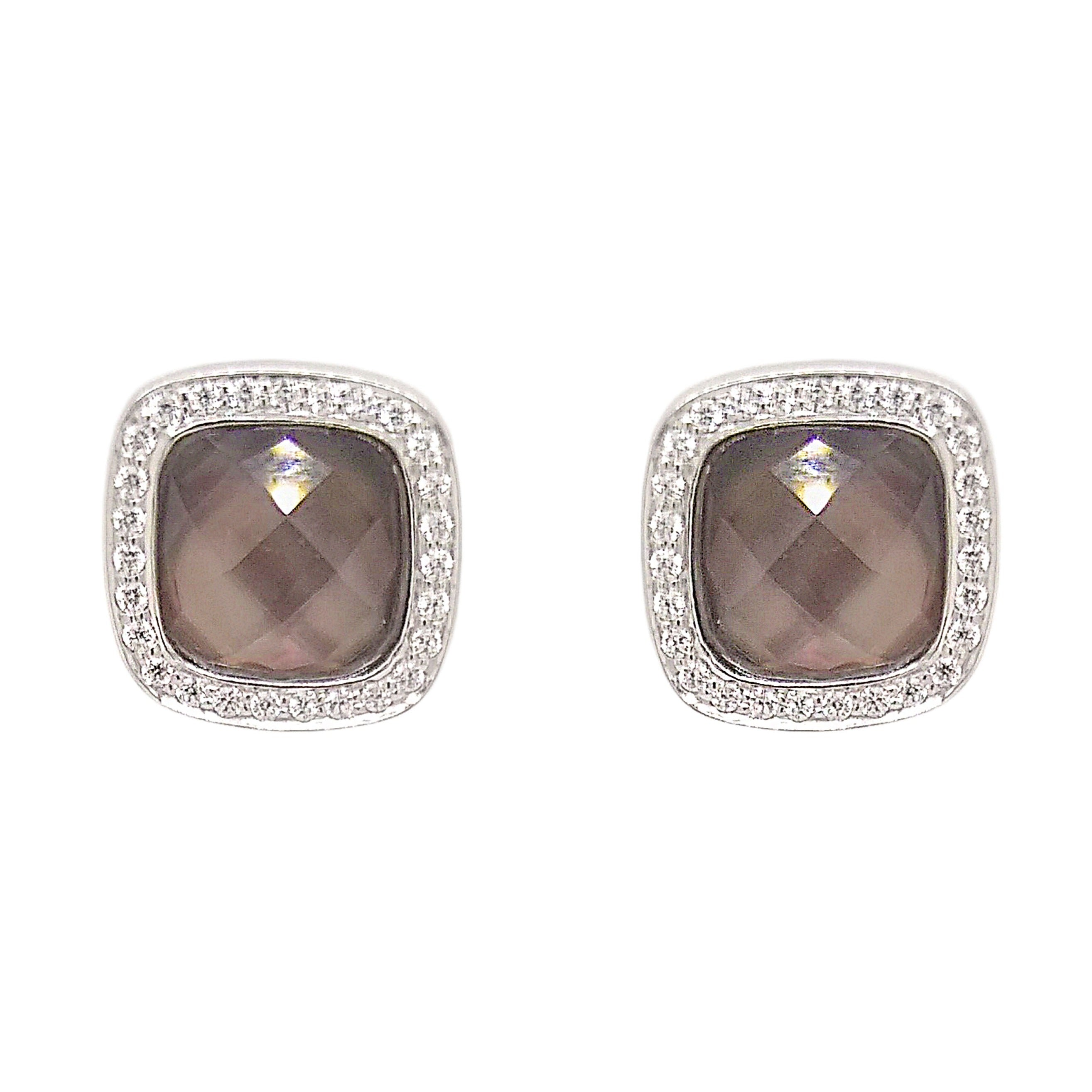 Silver Soft Square Mother of Pearl & CZ Earrings
