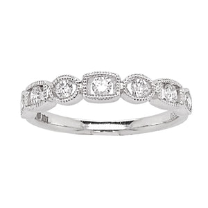 Platinum Diamond Millgrain Shape Half Eternity Ring