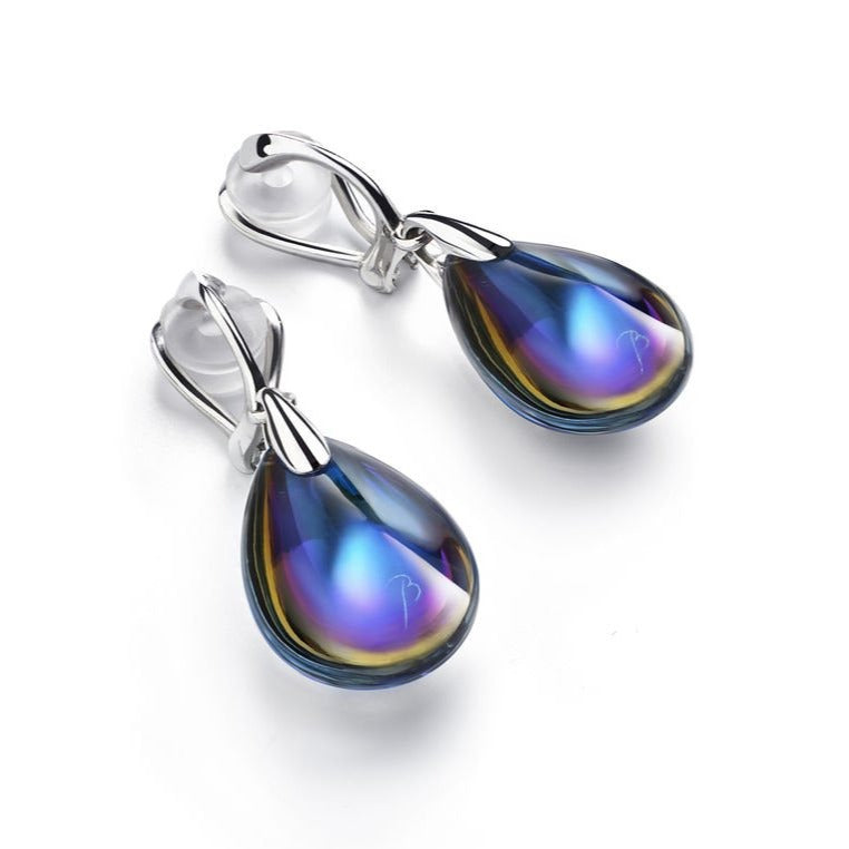 Baccarat Silver Blue Scarabee CLIP-ON Earrings