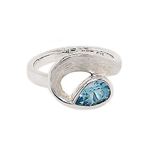 Silver Pear Blue Topaz Curl Ring