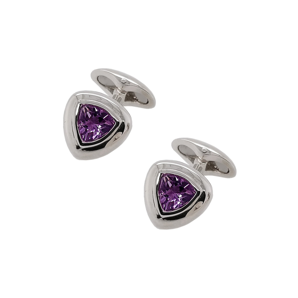 Silver Soft Triangle Amethyst Cufflinks