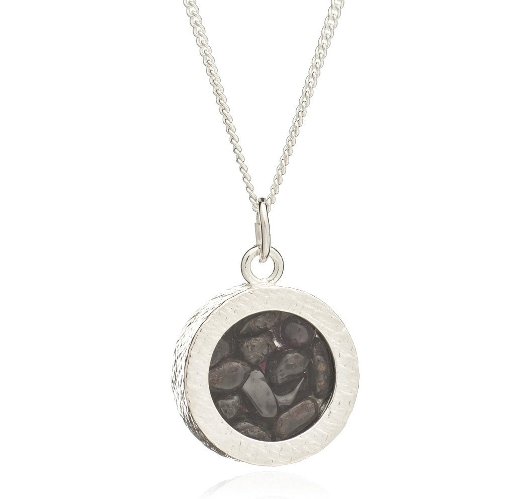 Silver Garnet Amulet Necklace - Andrew Scott