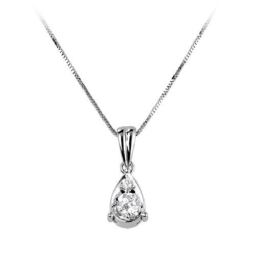 18ct White Gold Tear Drop Diamond Pendant & Chain - Andrew Scott