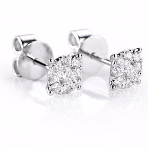 18ct White Pave Brilliant-cut Diamond Stud Earrings - Andrew Scott