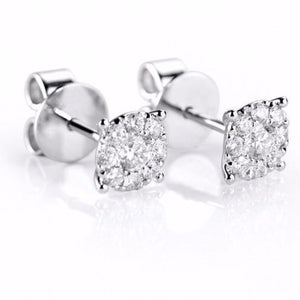 18ct White Gold Pave Brilliant-cut Diamond Stud Earrings - Andrew Scott