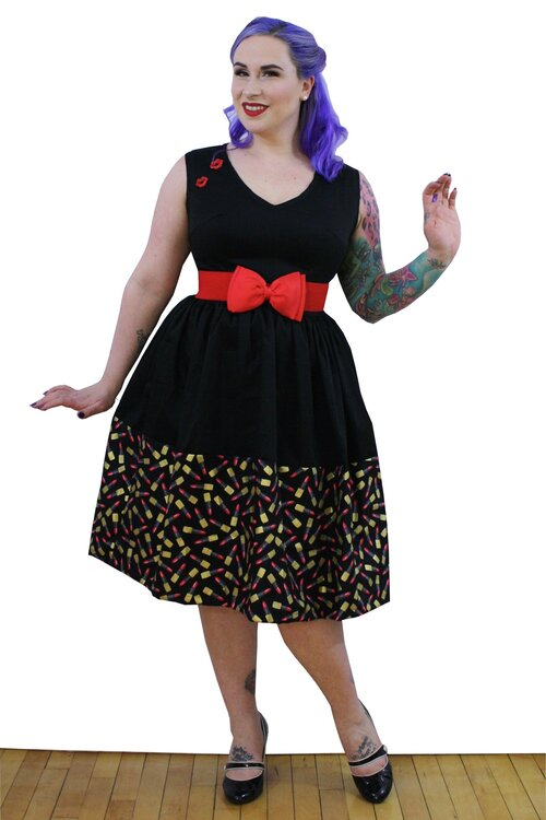 Marie Dress in Lipstick Print - Vivacious Vixen Apparel