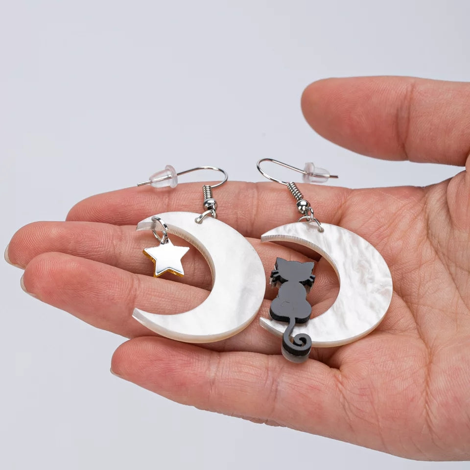 Moon Cat Earrings - Vivacious Vixen Apparel
