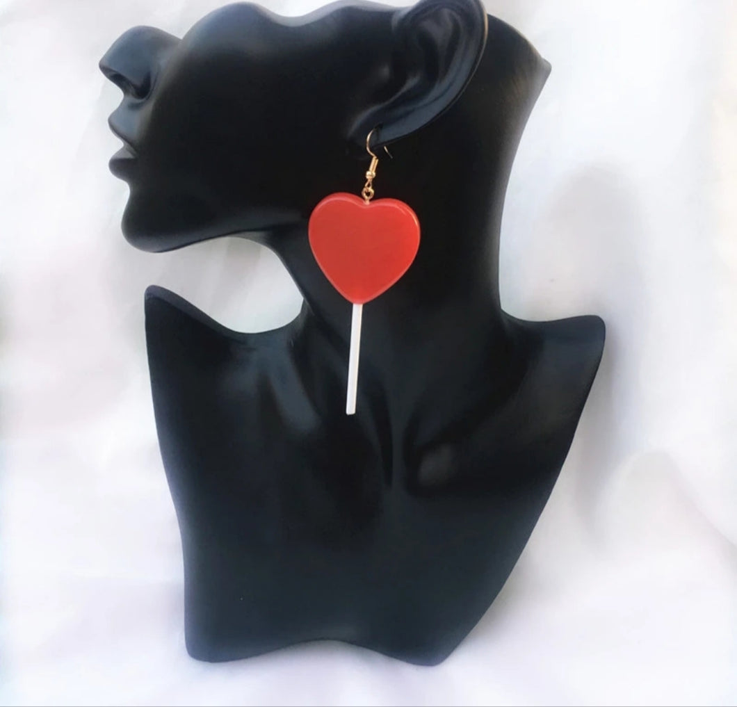 Red Heart Lolipop Earrings - Vivacious Vixen Apparel