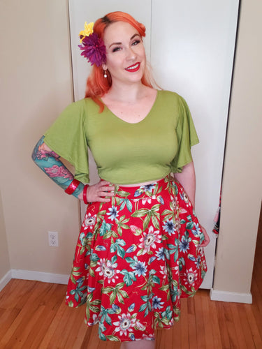 Red Tropical Floral Circle Skirt - Vivacious Vixen Apparel