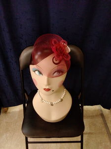 Small Red Wine Fascinator - Vivacious Vixen Apparel