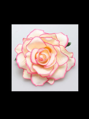 Pink and White Rose Hair Flower - Vivacious Vixen Apparel