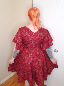 Crimson Rose Dress with Mask