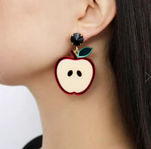 Load image into Gallery viewer, Red Apple Earrings - Vivacious Vixen Apparel