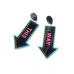 This Way Sign Earrings - Vivacious Vixen Apparel