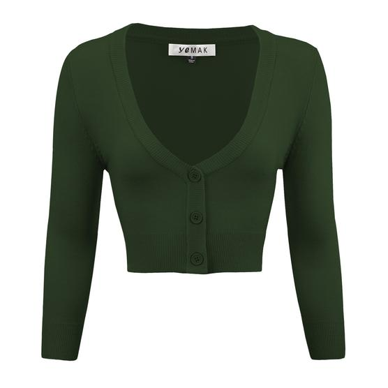 Cropped Cardigan in Hunter Green - Vivacious Vixen Apparel