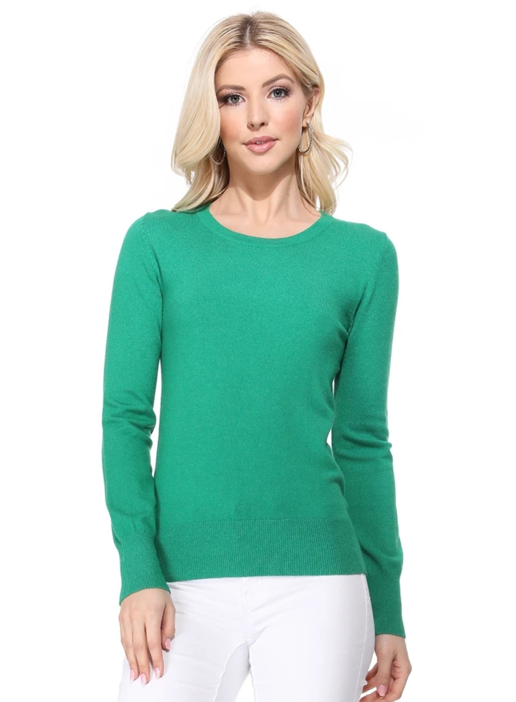 Crewneck Sweater in Kelly Green