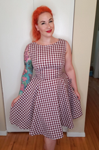 Load image into Gallery viewer, Audrey in Burgundy Gingham - Vivacious Vixen Apparel