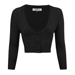 Cropped Cardigan in Black - Vivacious Vixen Apparel