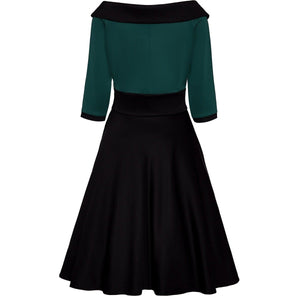 Deborah Dress in Green and Black