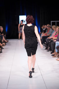 Elle Dress in Black Brocade - Vivacious Vixen Apparel