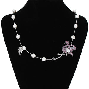 Flamingo Pearl Necklace - Vivacious Vixen Apparel