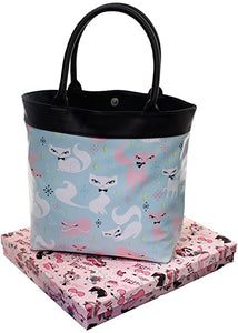 Blue Kitty Cat Tote Bag - Vivacious Vixen Apparel