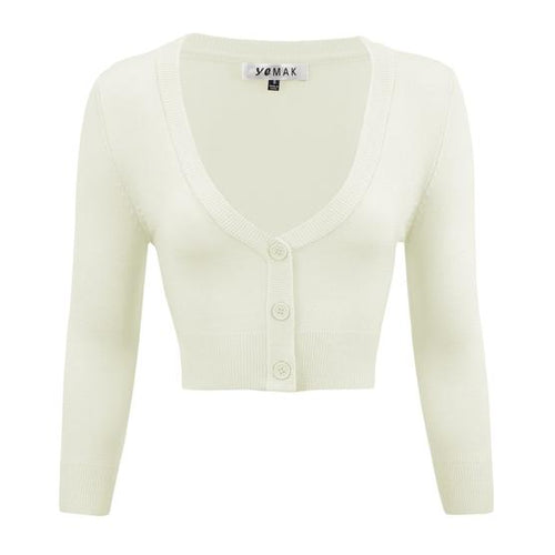 Cropped Cardigan in Ivory - Vivacious Vixen Apparel