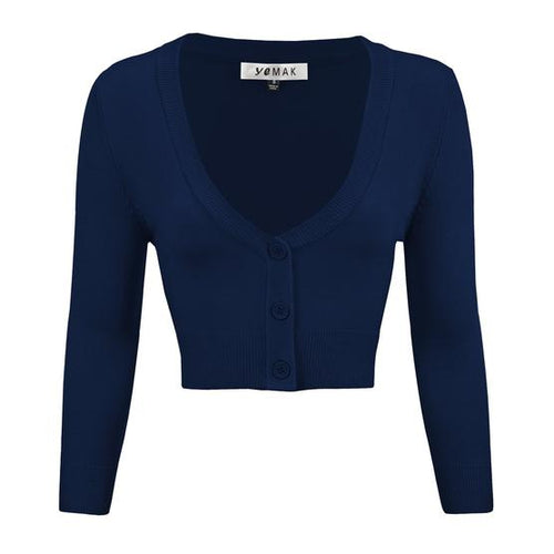 Cropped Cardigan in Navy - Vivacious Vixen Apparel