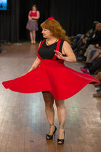 Load image into Gallery viewer, Cutie Pie Suspender Skirt in Red - Vivacious Vixen Apparel