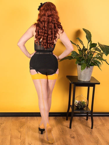 Glamour Seamed Stocking in Mustard - Vivacious Vixen Apparel