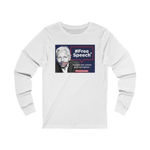 Free Speech Except War Crimes and Corruption - WikiLeaks - Unisex Long Sleeve Tee