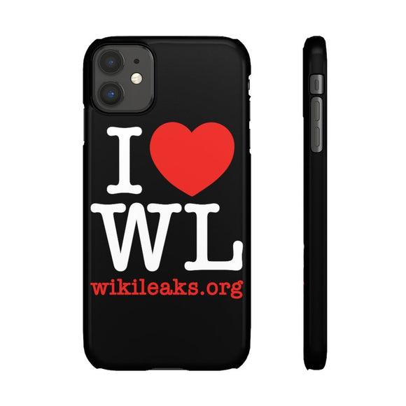 I Love WikiLeaks (white text) - Phone Case