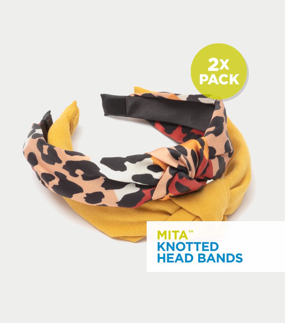 Knotted Headband Collection - Velvet Mustard & Silk Animal Print Knotted Headband (Pack of 2)