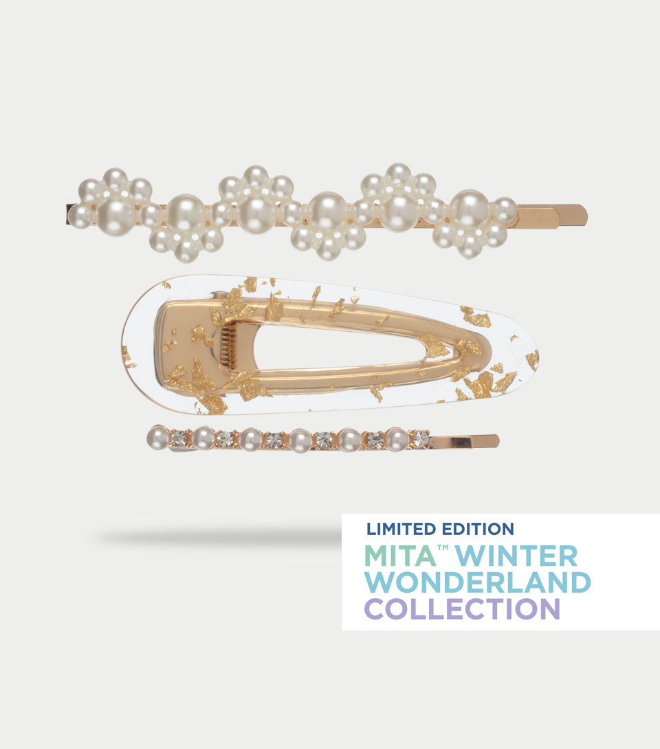 Winter Wonderland Collection - Faux Pearl & Gold Leaf Clips (Pack of 3)