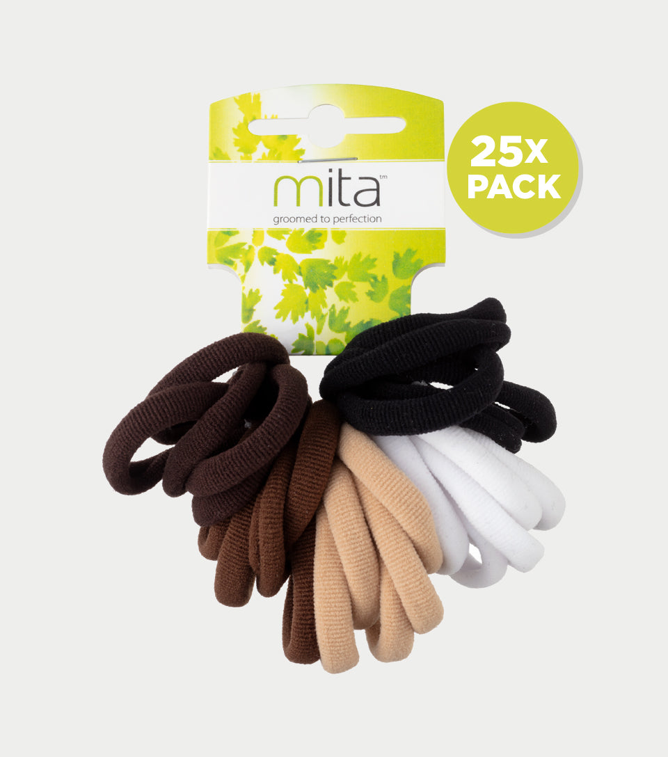 Softies Hair Ties Brown, White and Black (Pack of 25)