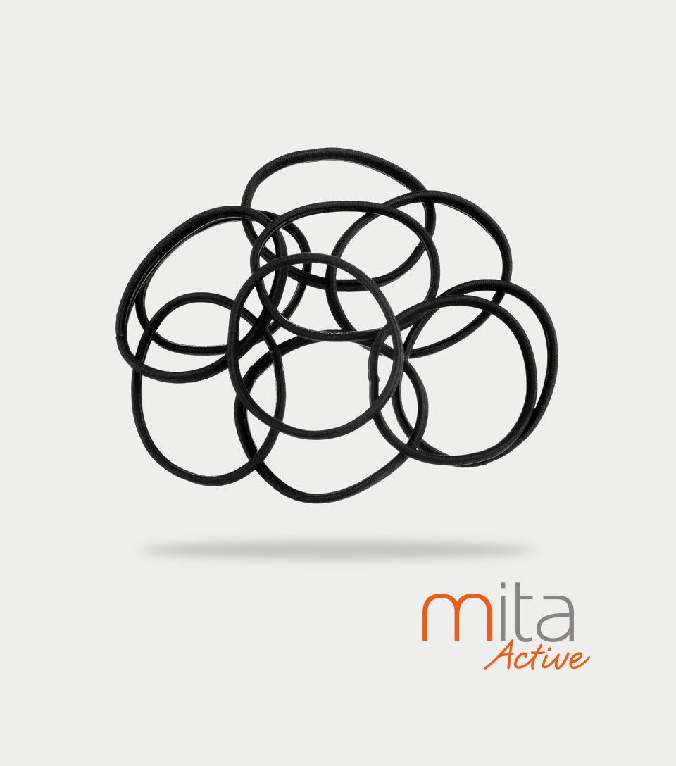 Mita Active Non Slip Elastics Thin/Thick Black (Pack of 10)