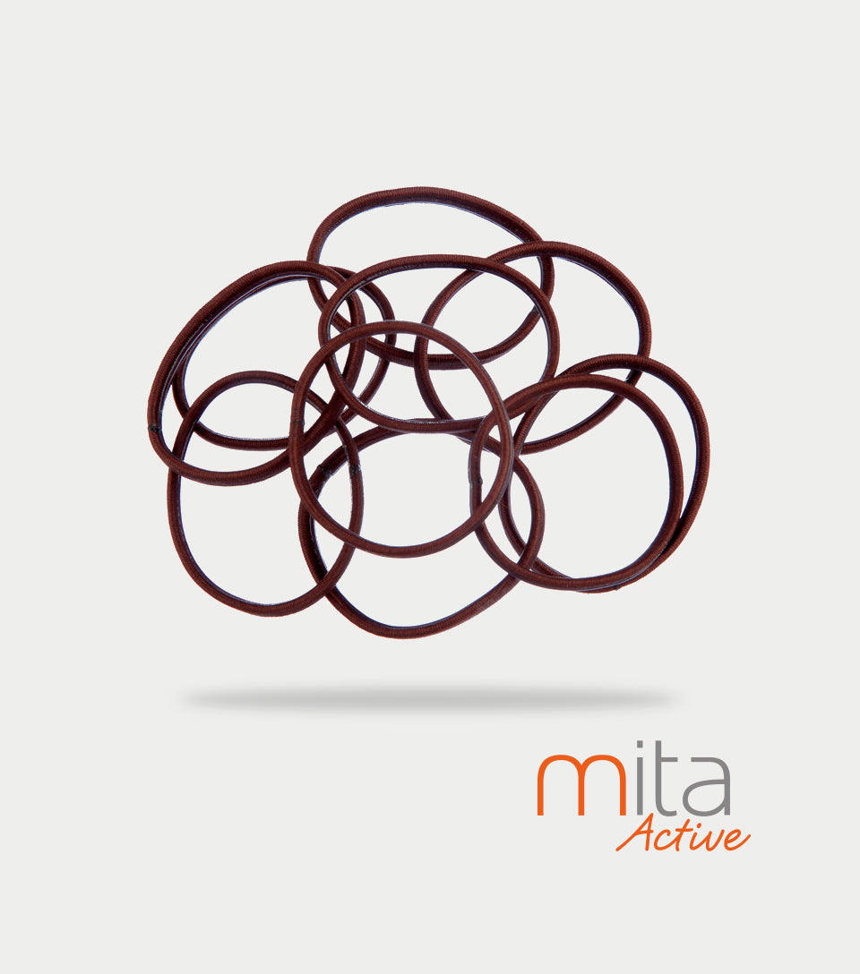 Mita Active Non Slip Elastics Thin/Thick Brown (Pack of 10)