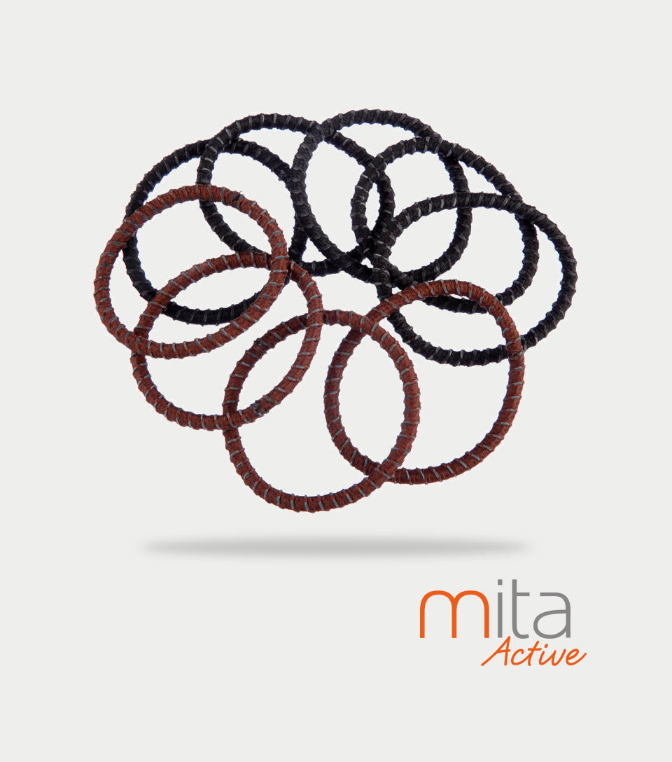 Mita Active Non Slip Elastics Thick Brown/Black (Pack of 9)