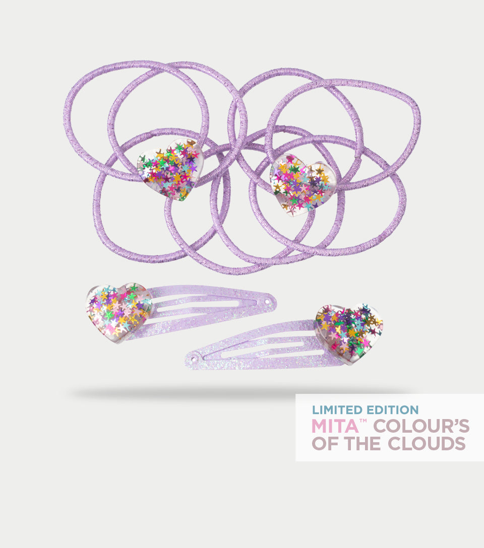 Colour's of the Clouds Collection - Heart Clip and Elastic (Pack of 10)