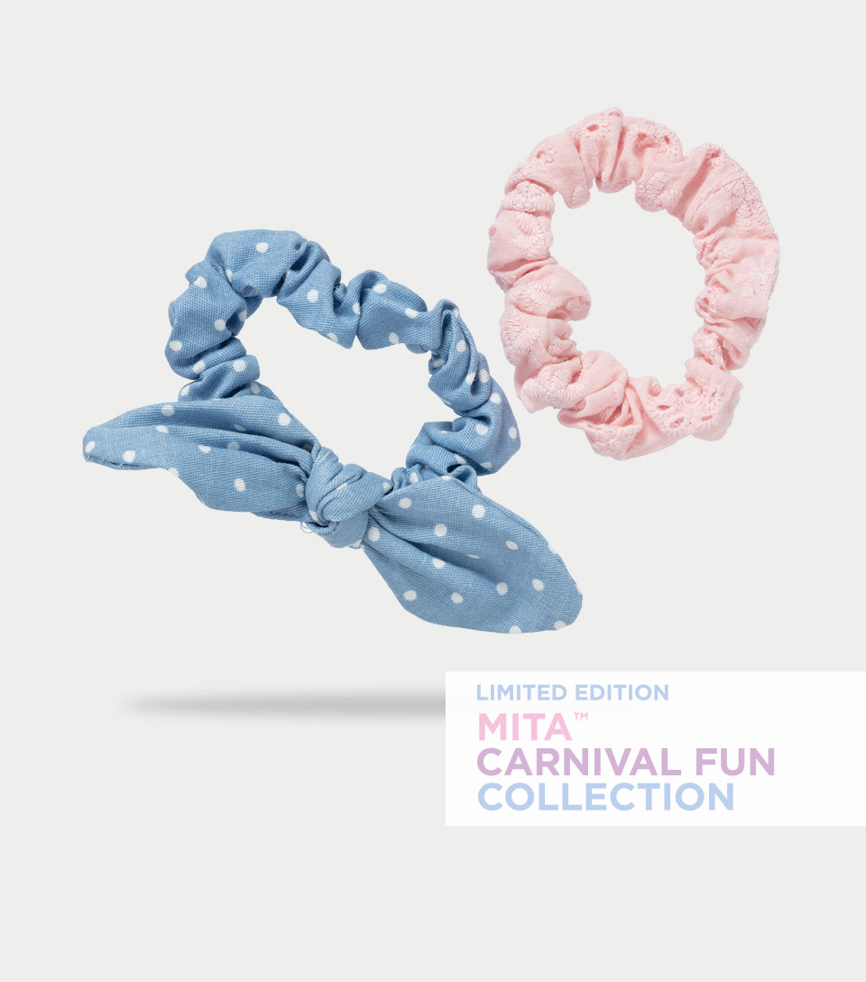 Carnival Fun Collection - Spots and Stripes Scrunchies (Pack of 2)