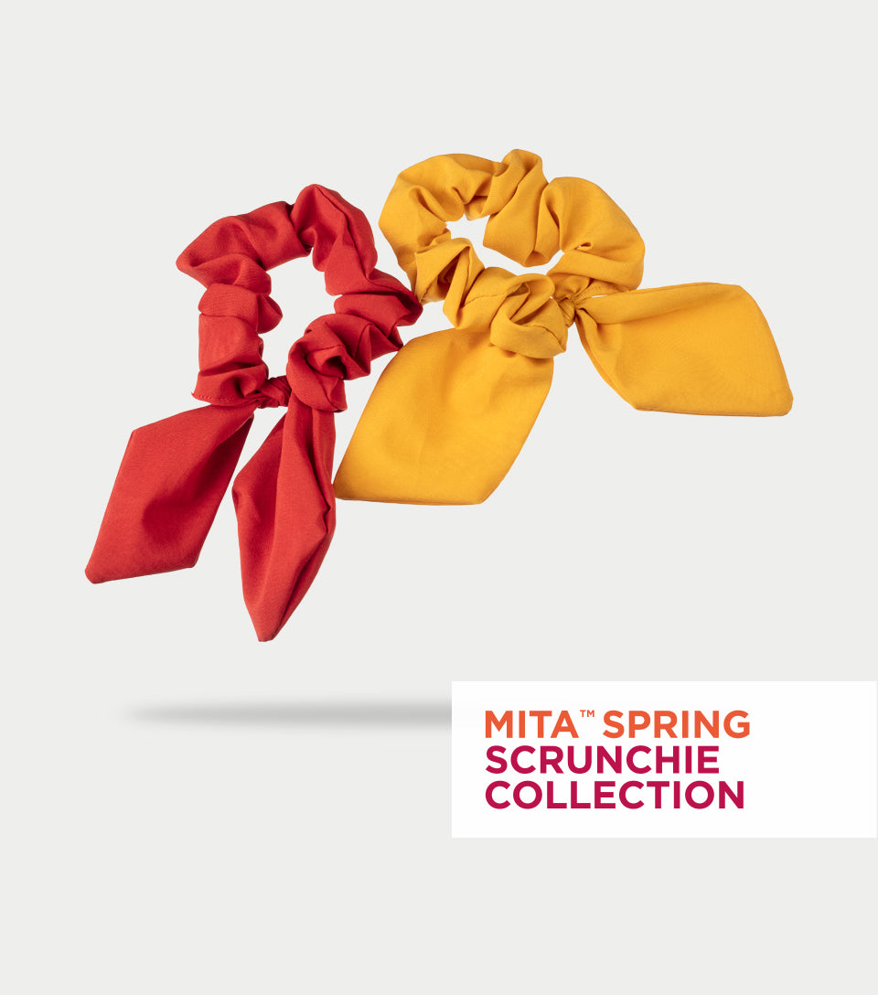 Spring Scrunchie Collection - Mustard & Ruby Red Satin Scrunchie Bows (Pack of 2)