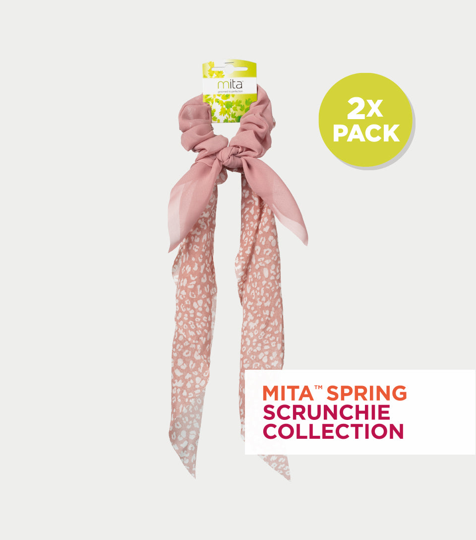 Spring Scrunchie Collection - Dusty Pink Animal Print Scrunchie Scarf & Scrunchie Bow (Pack of 2)