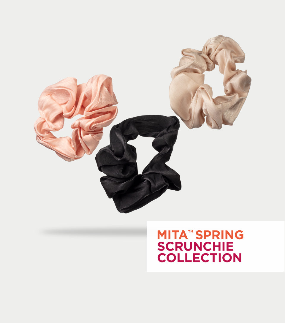 Spring Scrunchie Collection - Shimmery Black, Cream & Dusty Pink Scrunchie (Pack of 3)