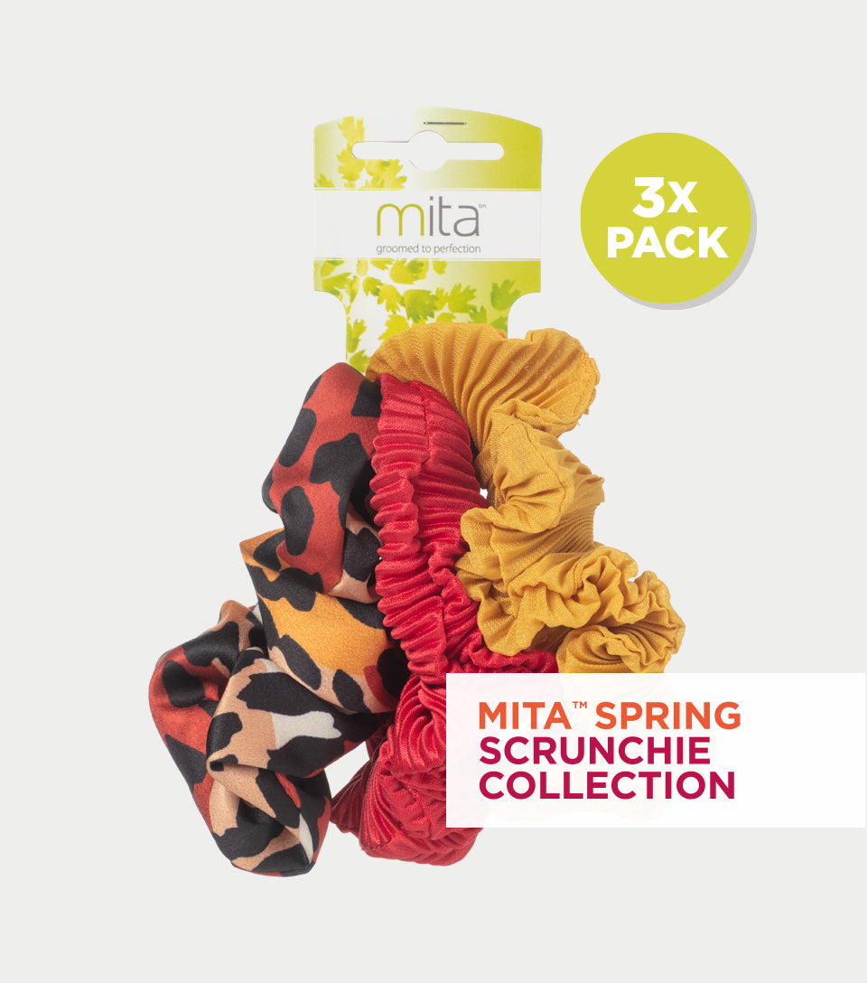 Spring Scrunchie Collection - Crinkled Silk Ruby Red, Mustard and Animal Print Scrunchie (Pack of 3)