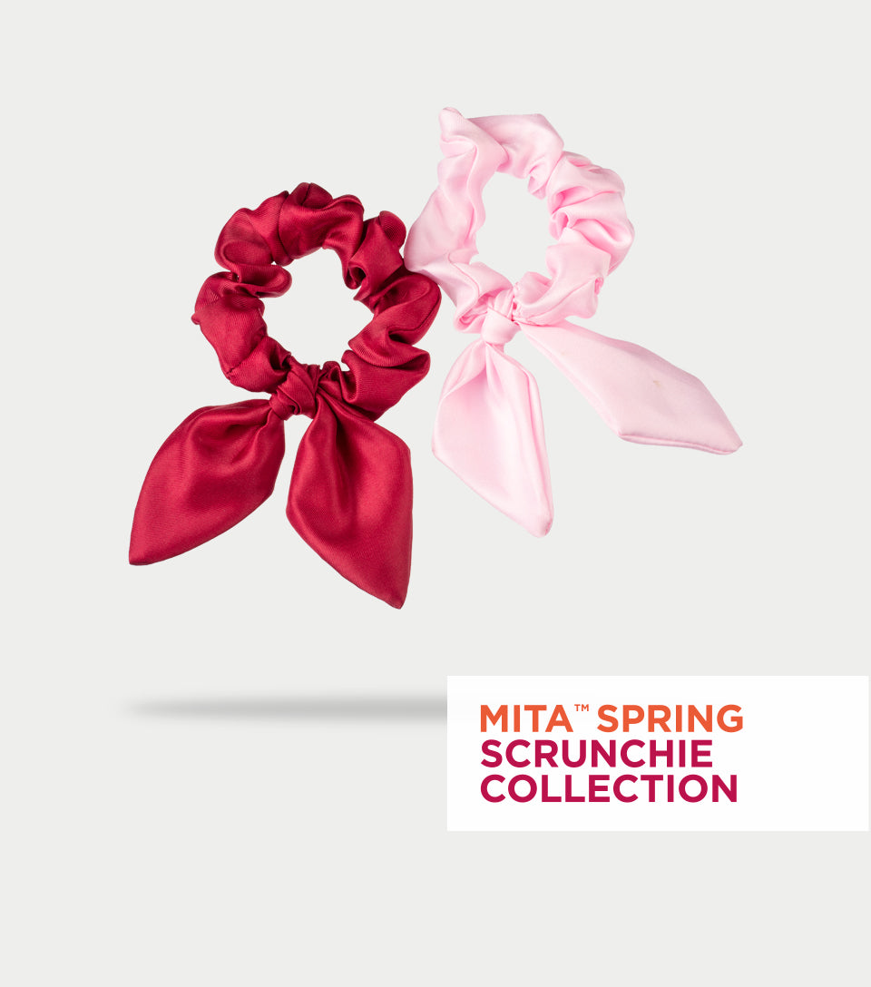 Spring Scrunchie Collection - Pink Lady & Pompeian Red Satin Scrunchie Bows (Pack of 2)